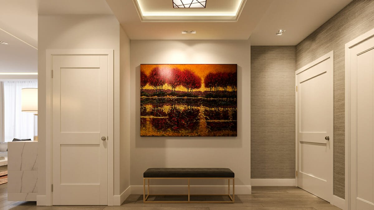 High-end interior design with a statement art piece by Mladen C