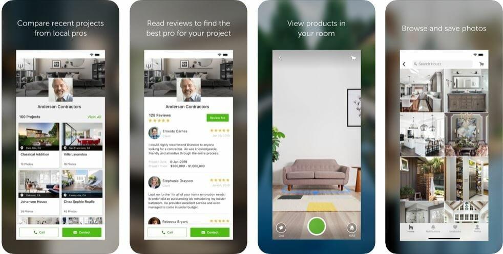 Houzz app to design a patio online