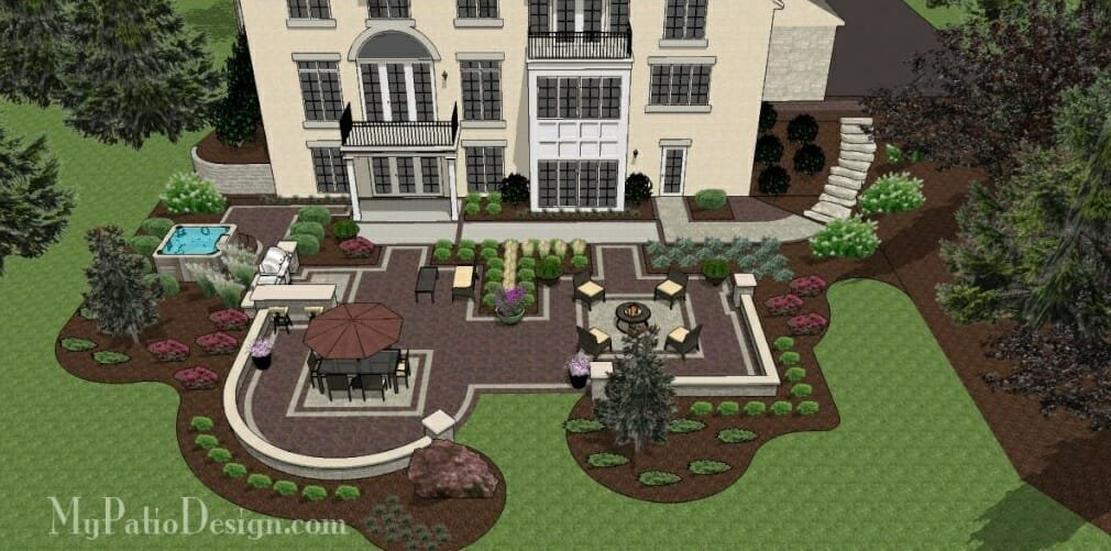 Luxurious backyard from an online patio design MyPatioDesign