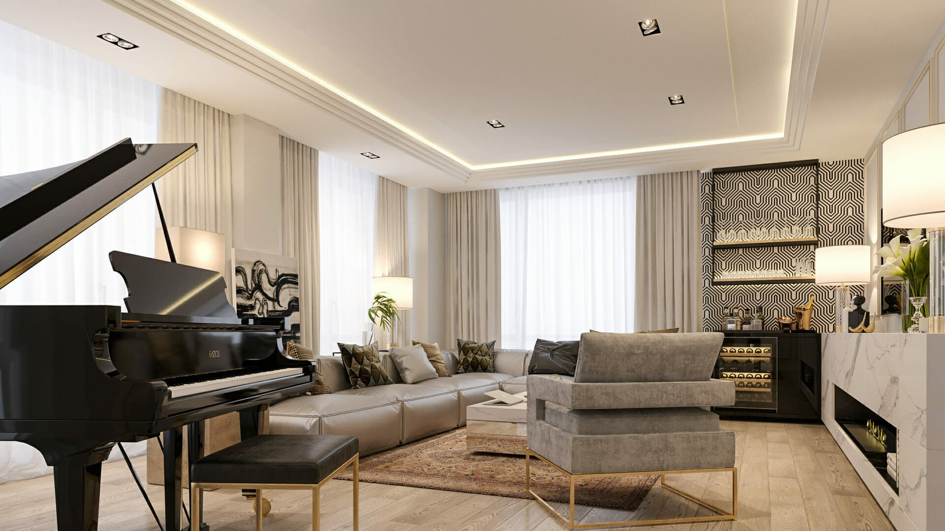 Luxury living room design for entertaining