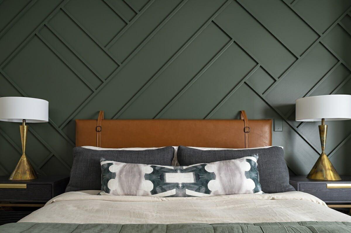 Masculine contemporary bedroom design by one of the top interior designers Atlanta, Georgia
