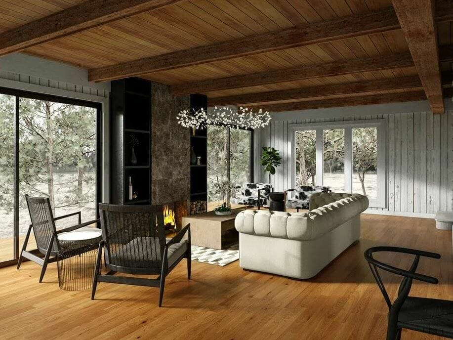 Modern cabin interior living rooom with contemporary lighting by Tiara M