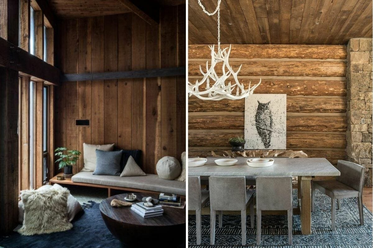 Modern log cabin interior ideas with grey and white furniture