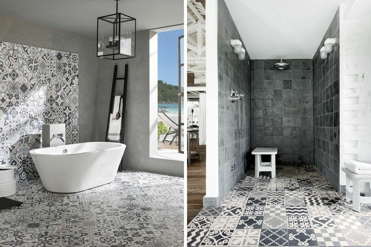 Monochromatic bathroom floor tile ideas