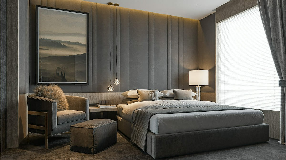 Monochromatic luxury bedroom interior design