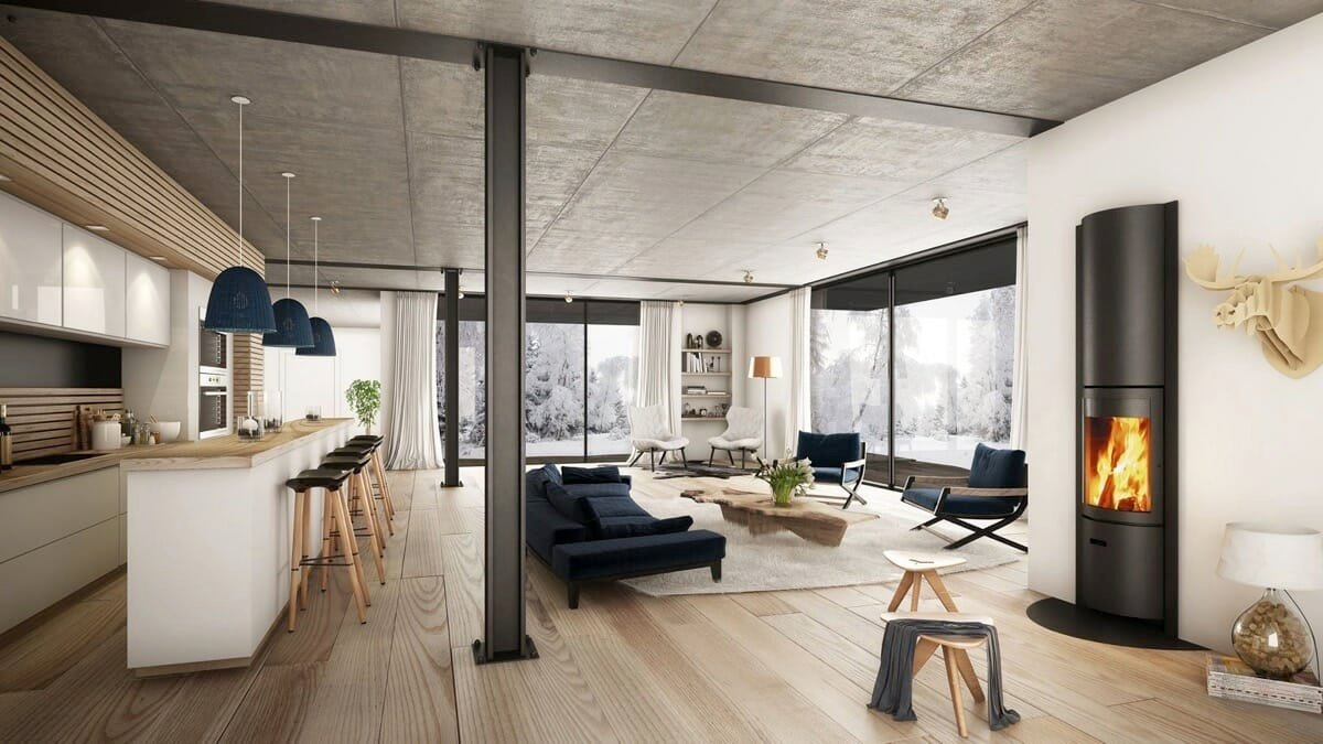Natural and industrial elements mix for scandi-industrial look