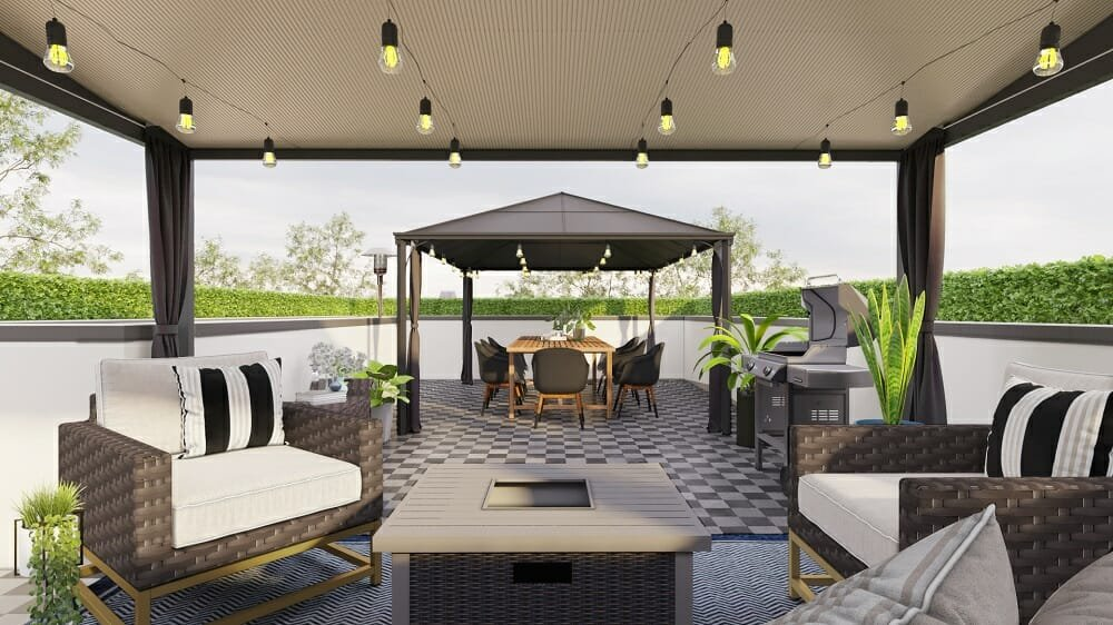 Online patio design with a contemporary Scandinavian style by Decorilla designer