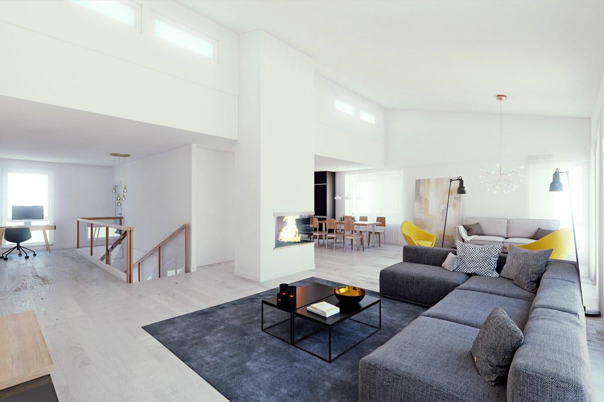 Open living Scandinavian living room decor