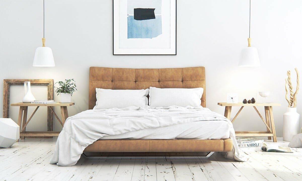 Rustic inspired Scandinavian bedroom decor