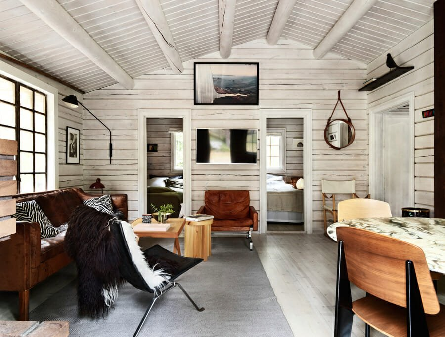 Scandinavian style log cabin interior design