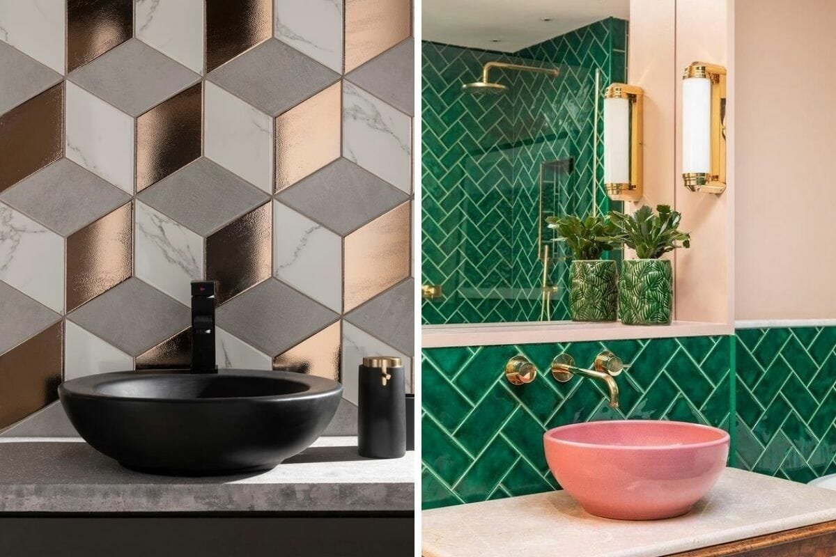 Shiny bathroom wall tile ideas
