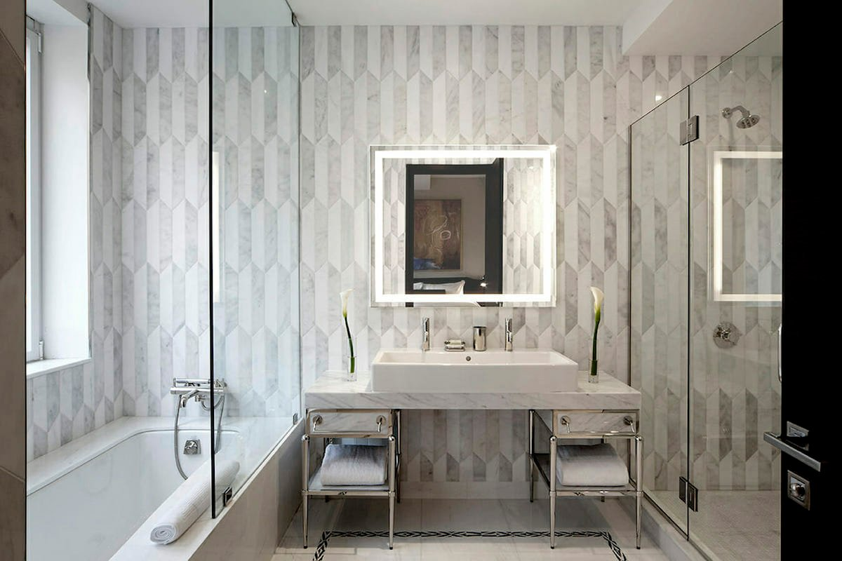 Shower tile ideas with elongated hexagon pattern