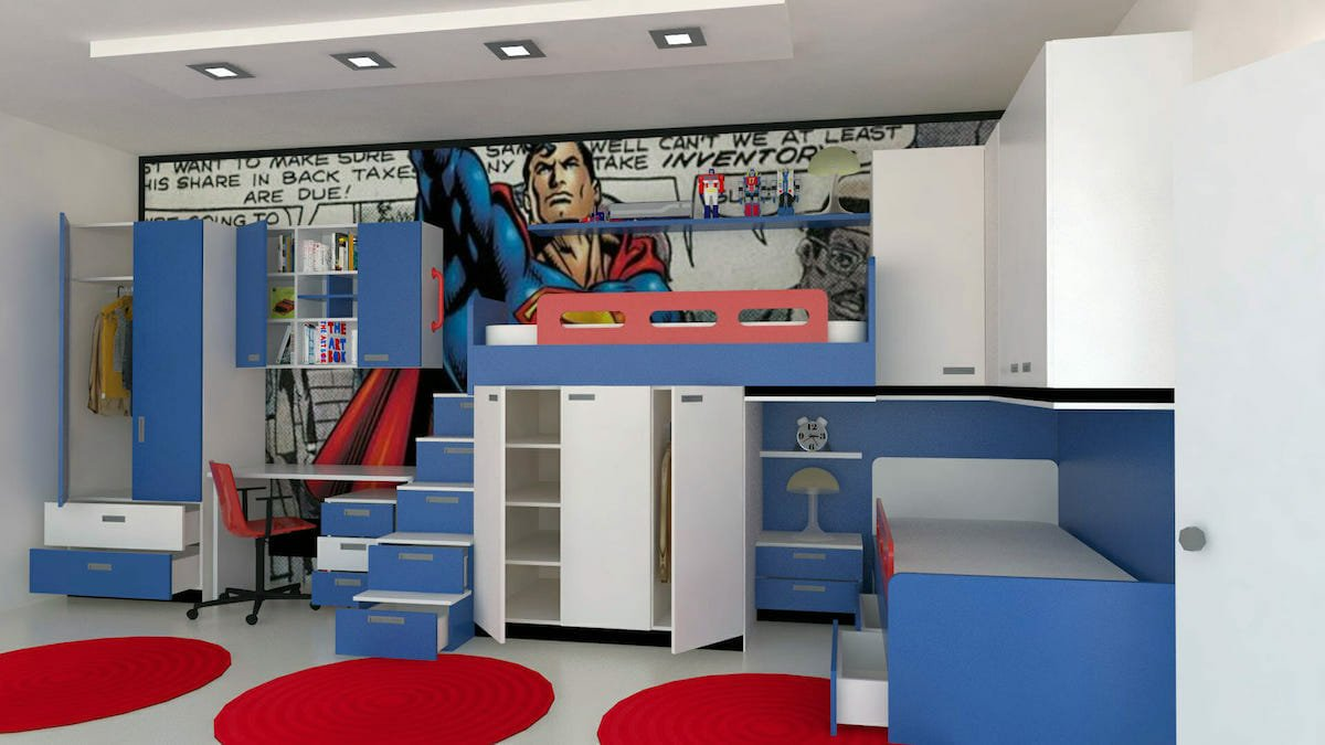 Superman wall mural for kids interior design