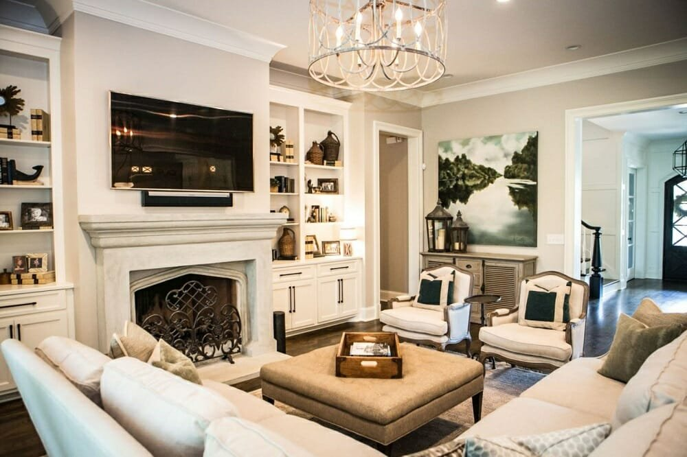 Traditional formal living room design by one of the top Atlanta interior decorators