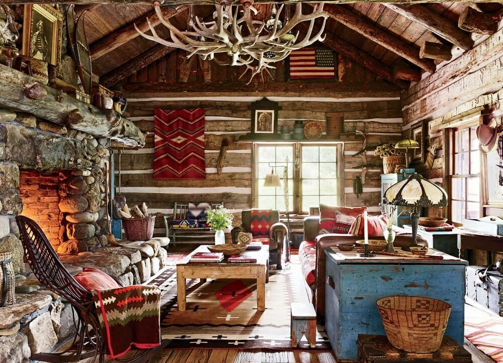 Traditional rustic log cabin interior design