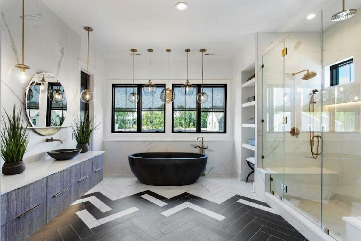 Two toned herringbone bathroom floor tile ideas