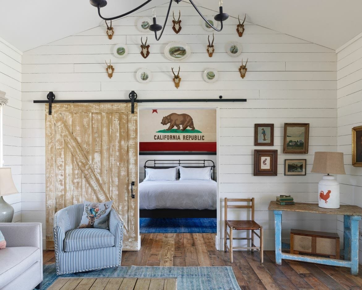 White cabin interior ideas with antique accessories