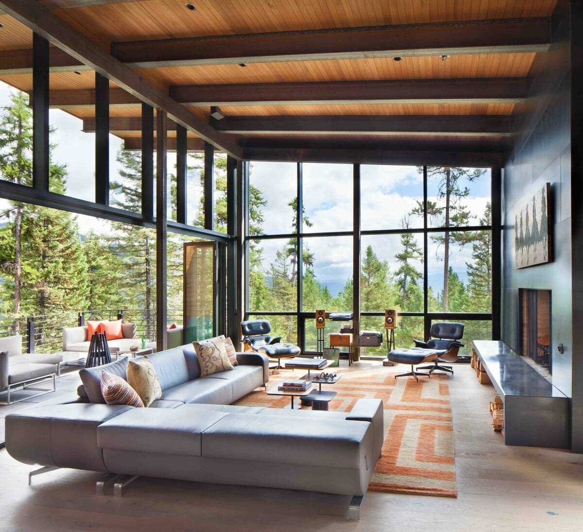 luxury-living-room-interor design with dramatic floor to ceiling windows