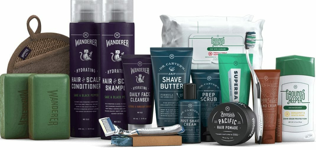 An extensive grooming kit for men by the Dollarshaveclub as gift cards for Father's Day