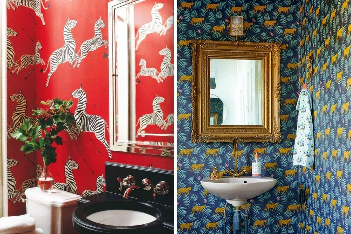 Animal print bathroom wallpaper ideas make a wild statement