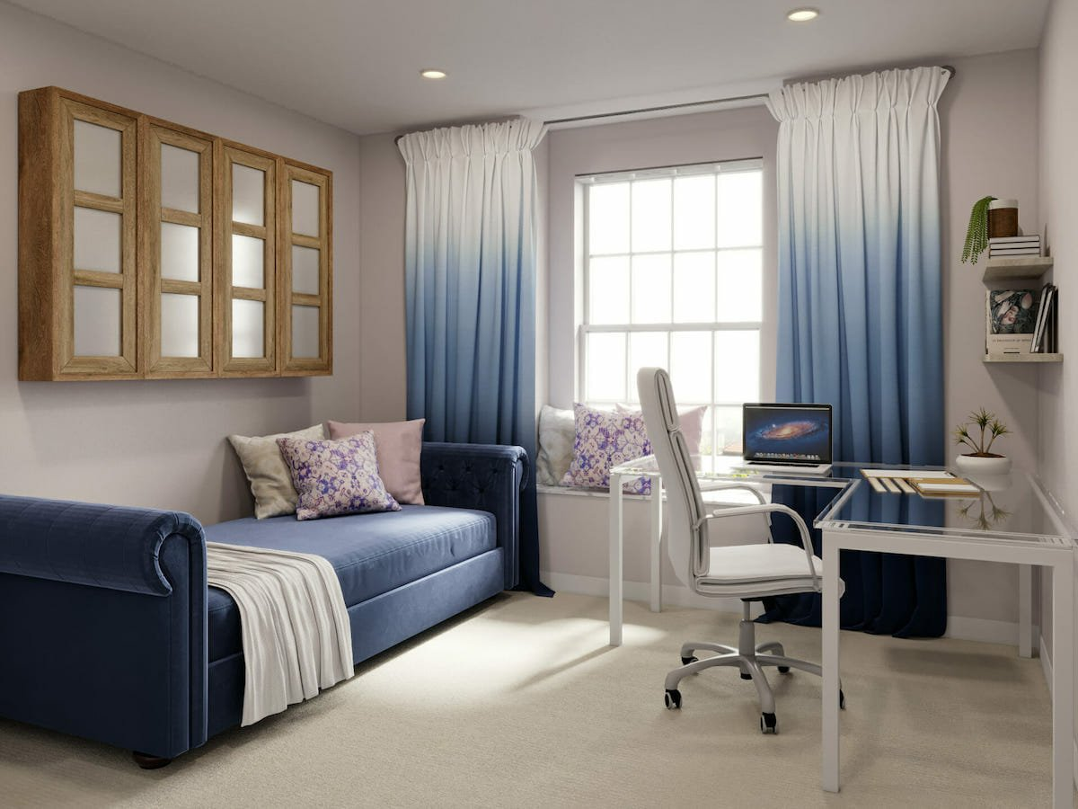 Blue accented study room design