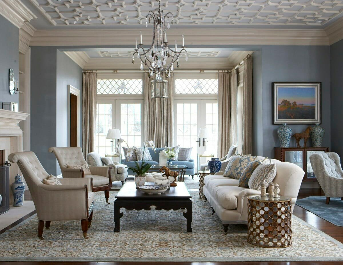 Blue and white living room in a traditional home style