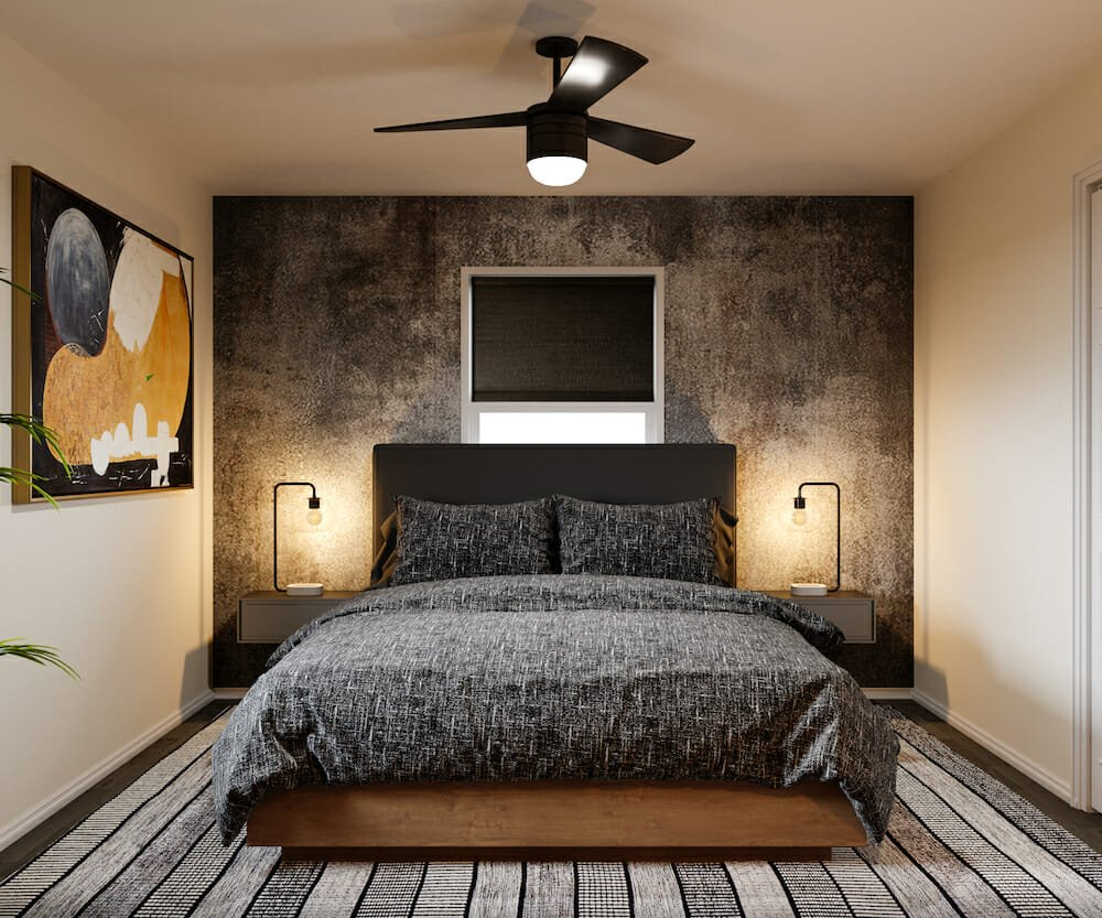 Charcoal wallpaper feature for the bedroom