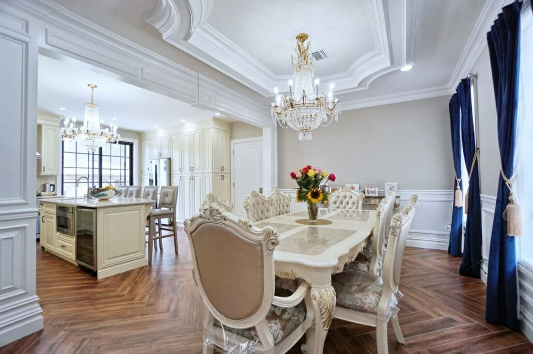 Classic traditional dining room with a French twist