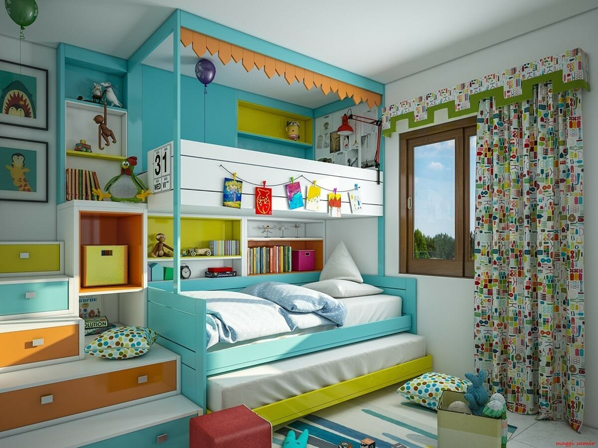 Colorful kids room interior design with loft bed