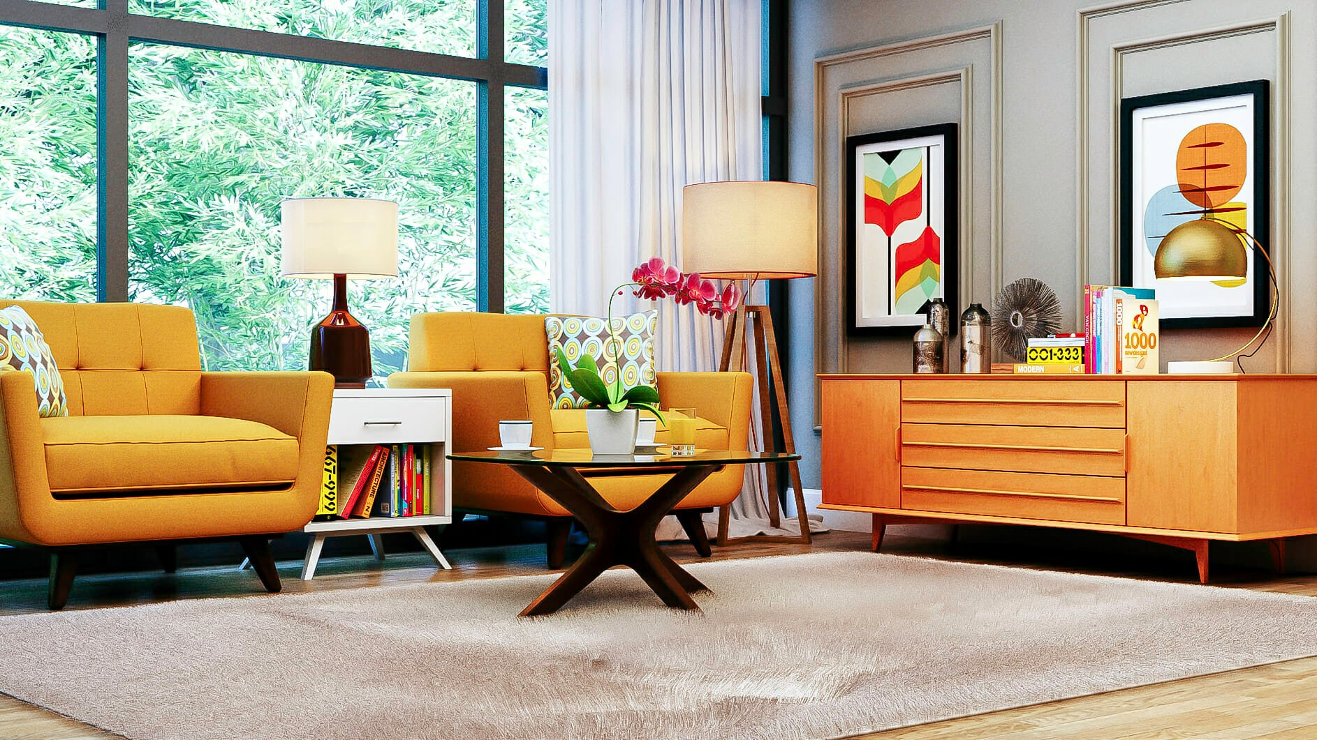 Colorful mid-century modern living area by top New Jersey interior designer Aldrin Cruz