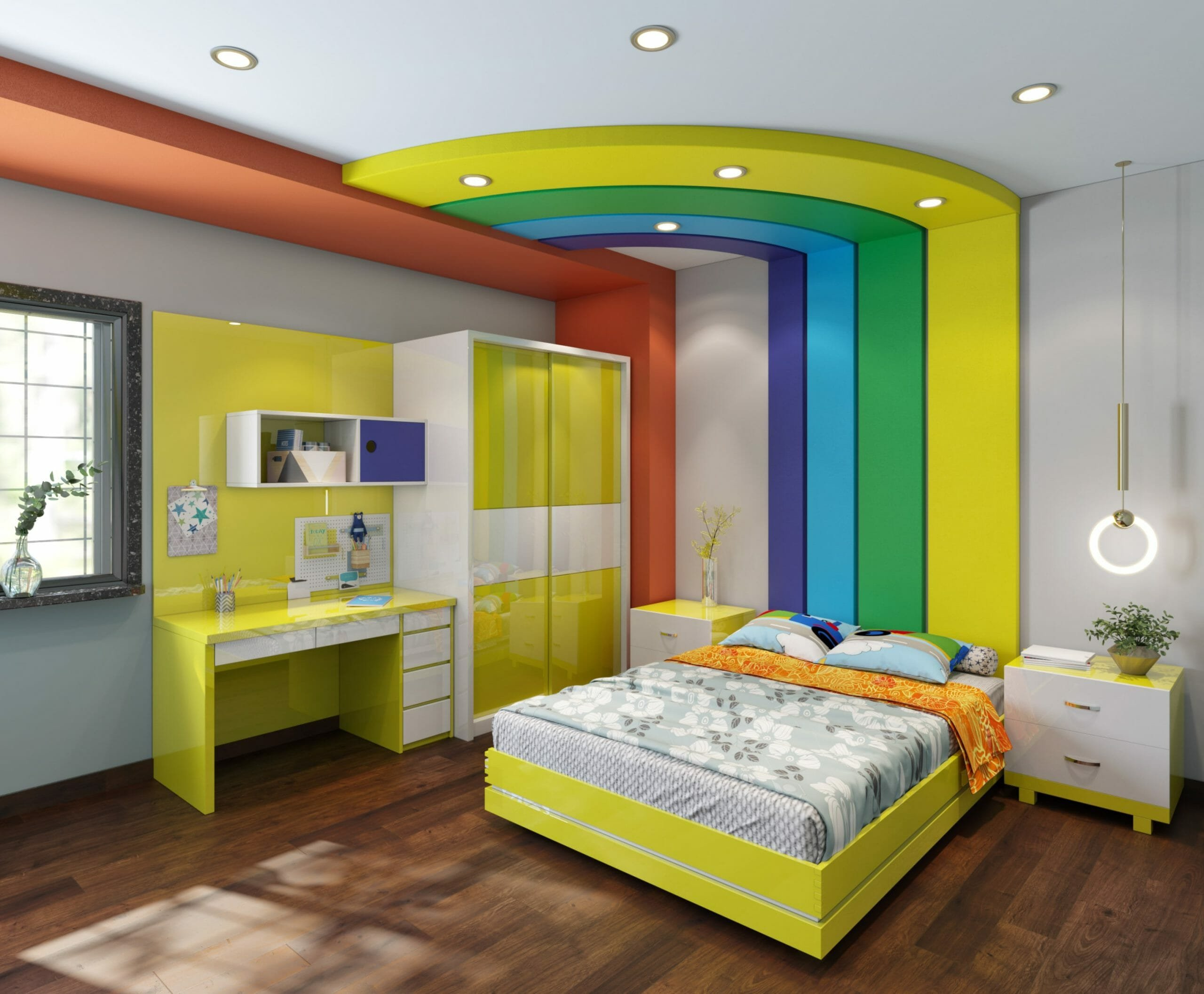 Colorful rainbow-themed kids room interior design