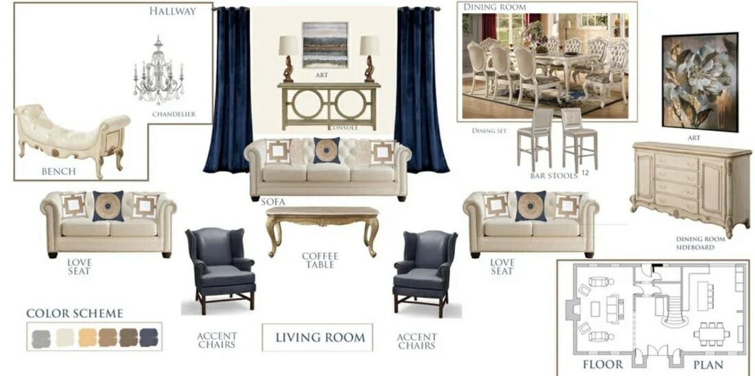 Combined traditional dining room and living room makeover mood board