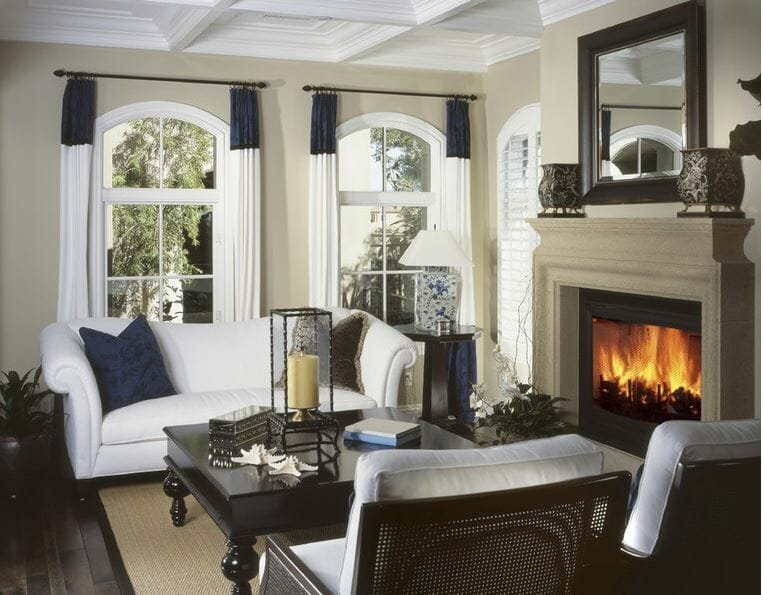 Cozy sitting room with a fireplace available as gift cards for mother's day by Divine