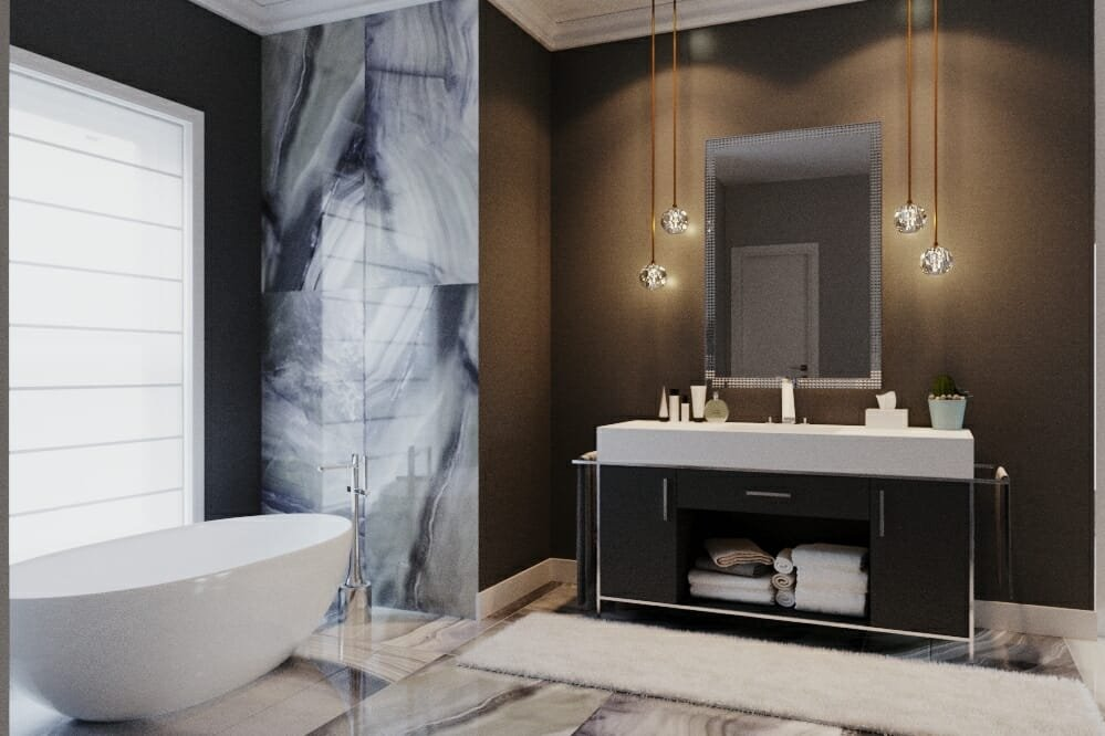 Dark and dramatic all-over bathroom wallpaper