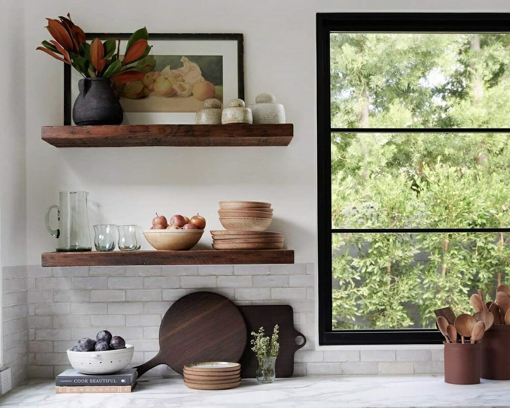 Decor kitchen details on floating shleves by Shoppe - offering one of the best e gift cards for mother's day