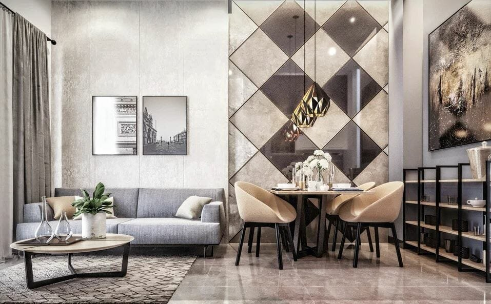 Elegant contemporary living and dining room - a recent makeover by Decorilla - interior design available as gift cards for Mother's Day