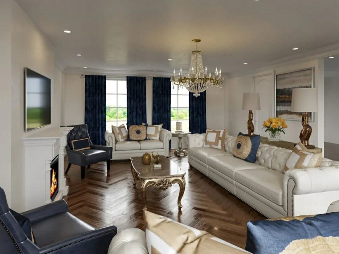 Elegant result of a traditional living room makeover