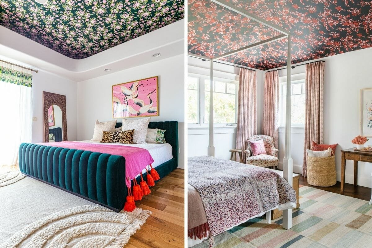Floral ceiling wallpaper makes a dramatic statement