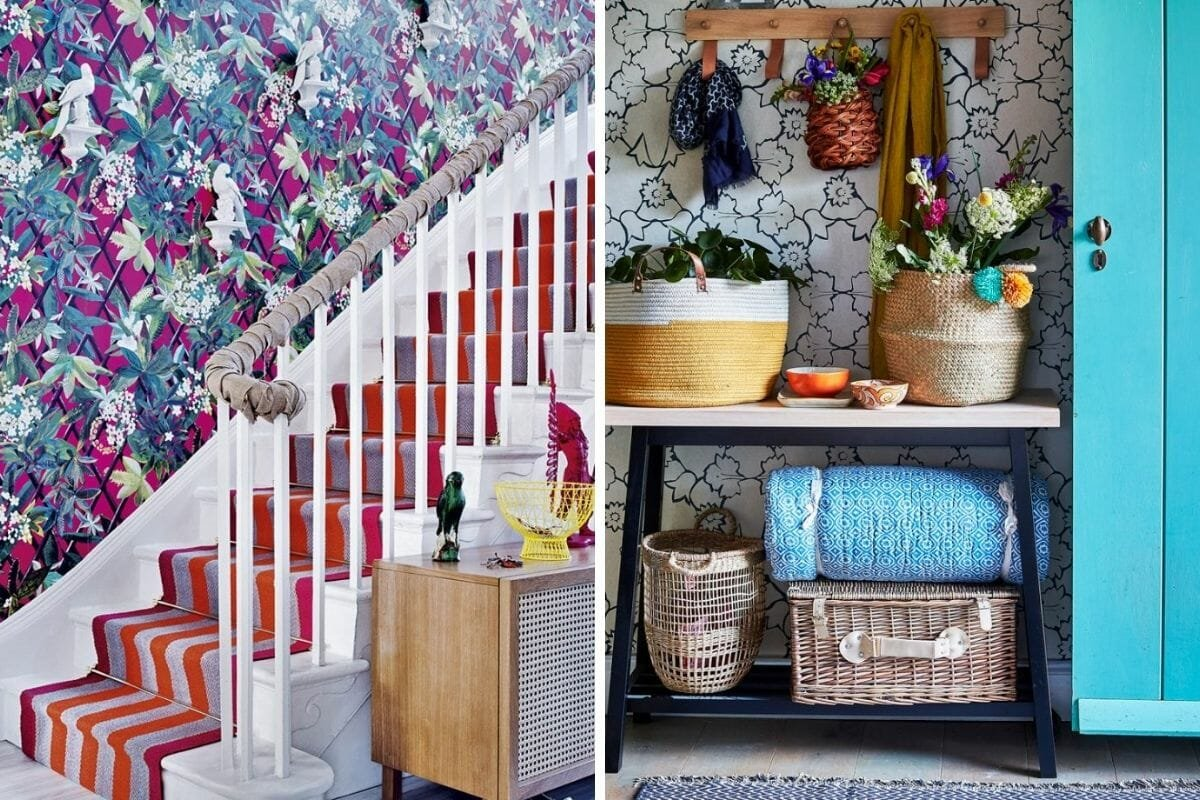 Floral entryway wallpaper ideas welcome guests with a statement
