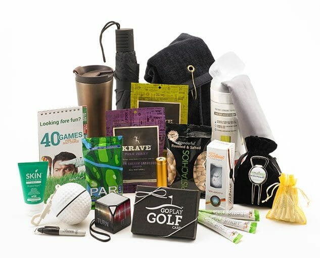 Golf essentials gift bag part of a gift certificate idea by Goplaygolf