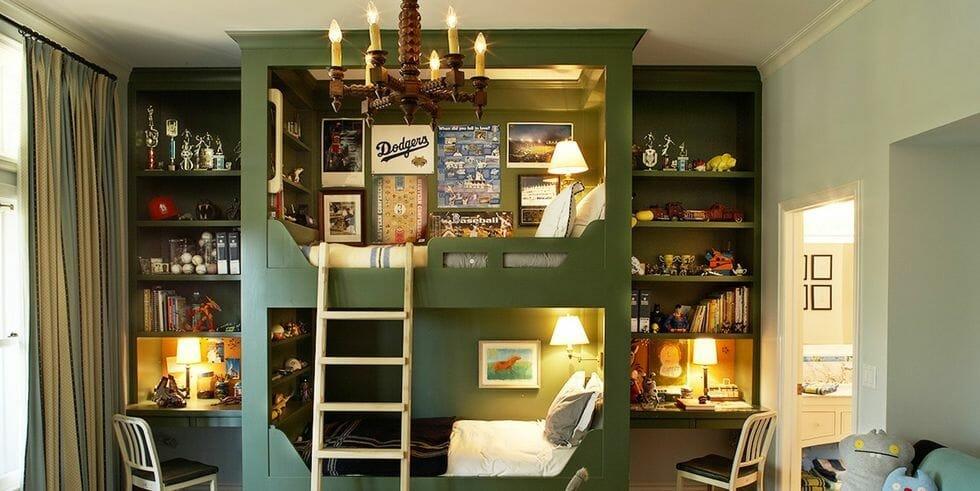 Green dodgers inspired boys room interior design