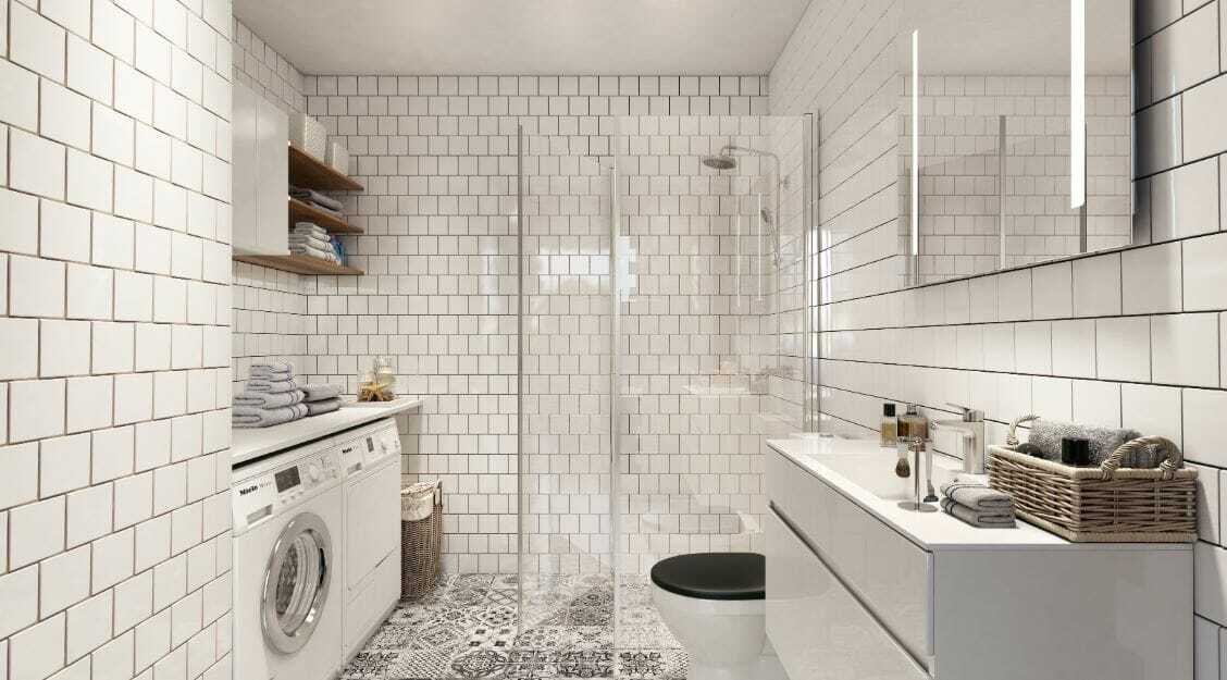 Laundry room design ideas rendering by Decorilla interior designer Hoang N.