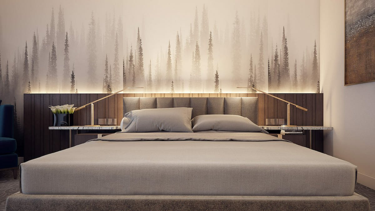 Monochromatic Forest bedroom wallpaper idea by Mladen C