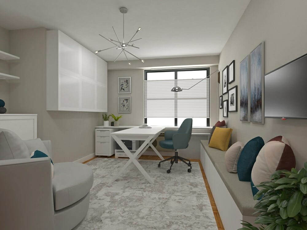 Neutral beige, white and blue home office with enough space to attend college from home by Dragana