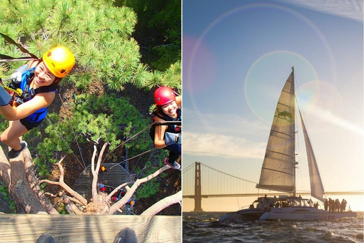 Outdoor activities, ziplining and yachting as part of gift certificate ideas for experiences by Cloud9