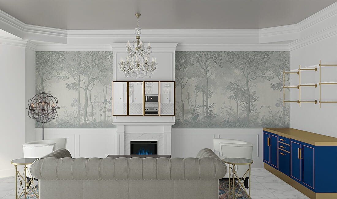 Panoramic Living room Wallpaper Ideas by Jessica S