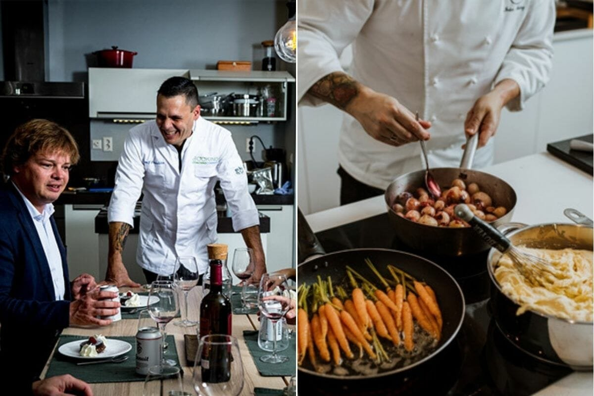 Private chef cooking and interacting with guests - one of the top gift certificate ideas