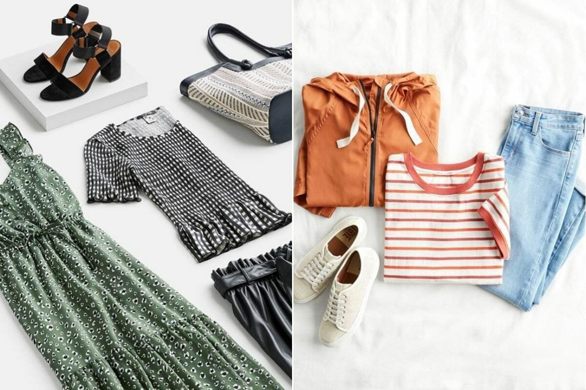 Selection of tops, dresses, shoots and bottoms from Stitchfix - online stylist gift card ideas