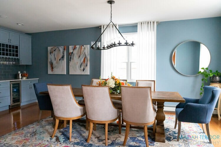 Slate blue dining room design by top New Jersey interior designer Amanda Amato