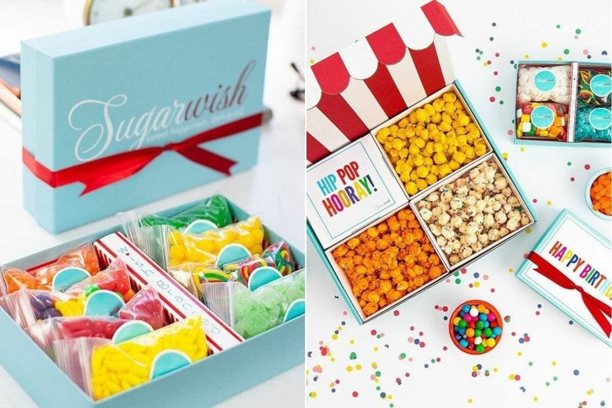 Sweets and popcorn neatly packed by Sugarwish - sweet gift card ideas